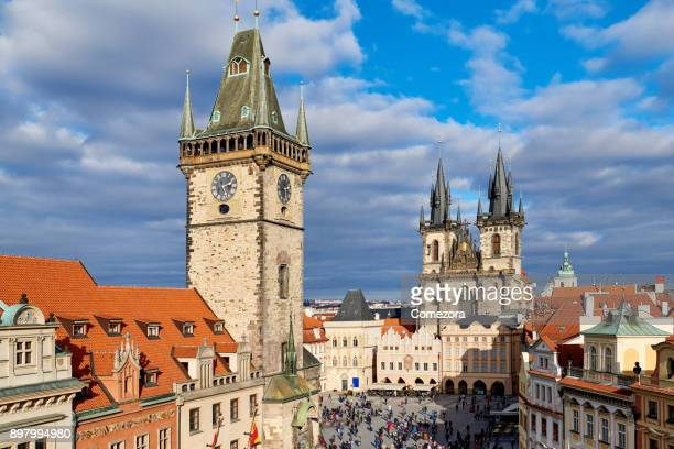 prague old town square and cityscape, czech republic - astronomical clock prague stock pictures, royalty-free photos & images