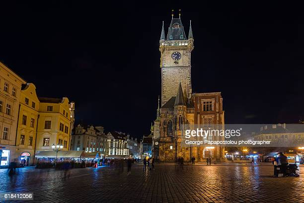 prague, old town square at night - astronomical clock prague stock pictures, royalty-free photos & images