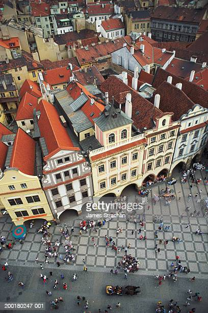 prague, old town square, elevated view - プラハ 旧市街広場 ストックフォトと画像