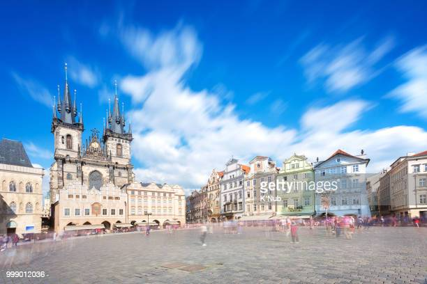 Prague old town square with old church and castle in shopping street where is the famous landmark for tourist in Prague, Czech Republic, Europe