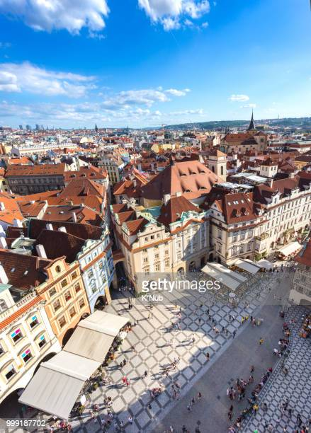 prague old town square with old church and castle in shopping street where is the famous landmark for tourist in prague, czech republic, europe - notre dame de tyn photos et images de collection