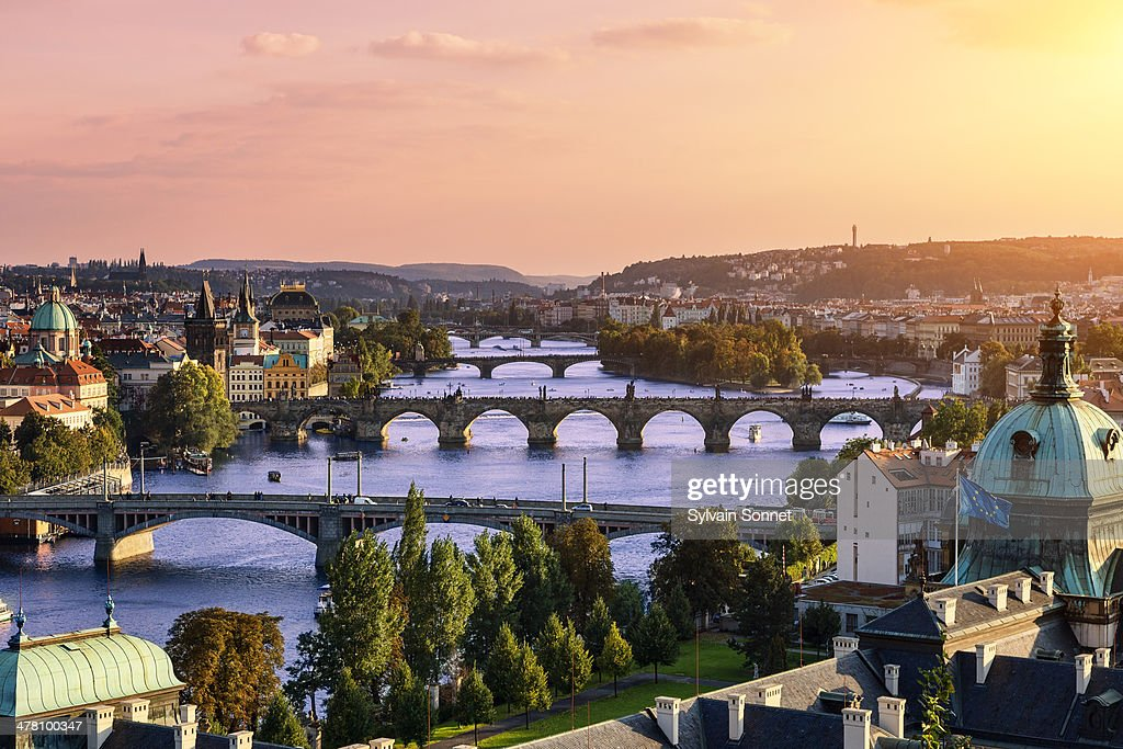 Prague, Over view of city and river. : Stock Photo