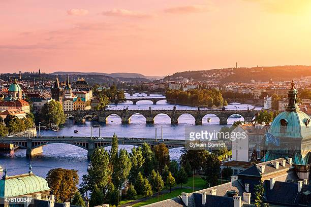 prague, over view of city and river. - prag stock-fotos und bilder