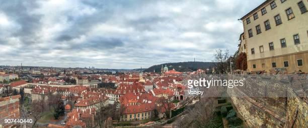 prague skyline form from the end of prague's old castle stairs (stare zamecke schody), czech republic - vsojoy stockfoto's en -beelden