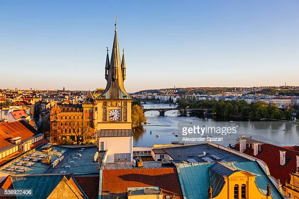 Prague skyline with Clock Tower and Vltava River, Czech Republic
