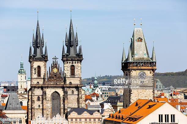 prague skyline with tyn church and old town hall clock tower in prague, czech republic - astronomical clock prague stock pictures, royalty-free photos & images