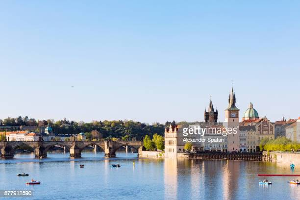Prague skyline with Vltava river and Charle's Bridge, Czech Republic