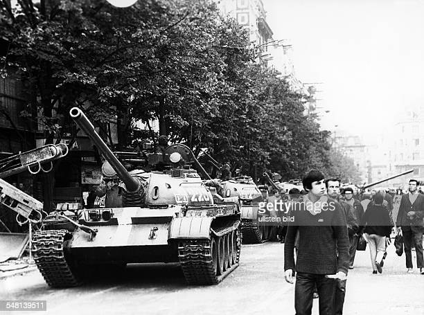 Prague Spring - Suppression Demonstrations and protests against the invasion of Czechoslovakia by troops of the Warsaw Pact countries| passersby next...