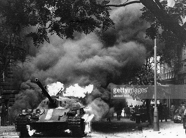 Prague Spring Suppression Demonstrations and protests against the invasion of Czechoslovakia by troops of the Warsaw Pact countries| burning tank Nr...