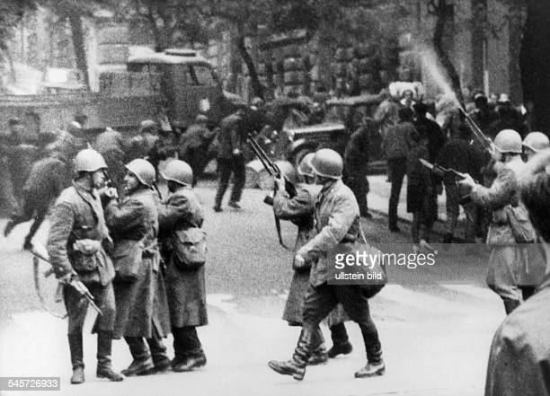 Prague Spring Suppression Invasion of Czechoslovakia by troops of the Warsaw Pact countries| Soviet occupation forces on a patrol in Prague while...