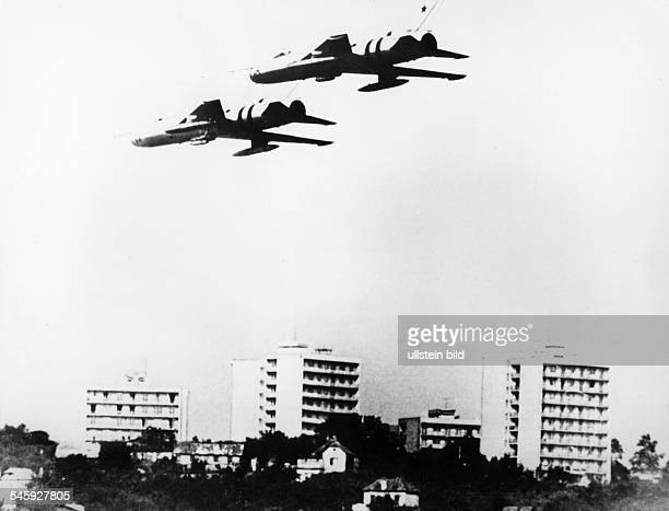 Prague Spring Suppression Invasion of Czechoslovakia by troops of the Warsaw Pact countries| two Soviet MIG jet fighters over Bratislava