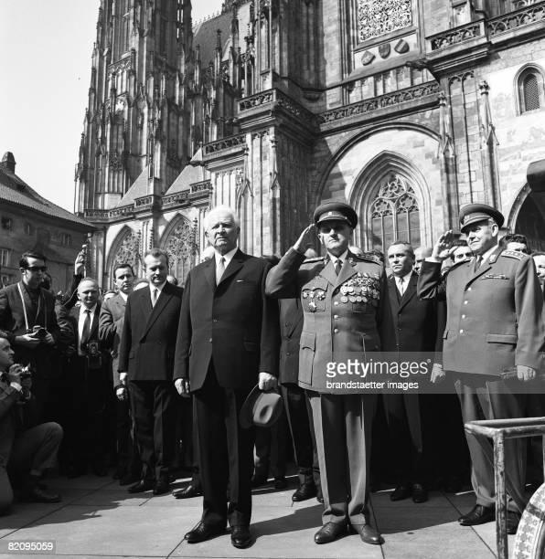 Prague Spring The elected president Ludvik Svoboda after the election in front of the St Vitus Cathedral Prague March 30th 1968 [Prager Frhling Der...