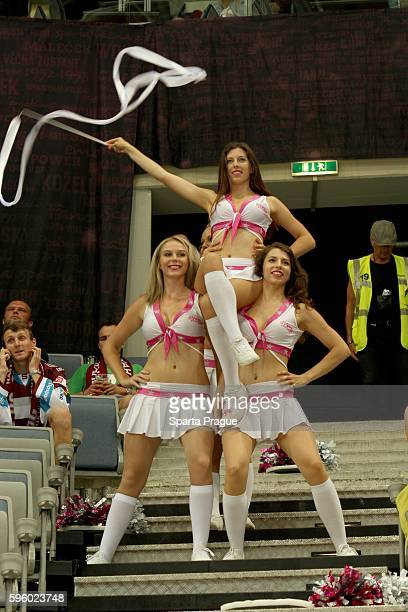 Prague Stars Cheerleaders cheers during the Champions Hockey League match between Sparta Prague and Comarch Cracovia at o2 Arena Prague on August 26,...