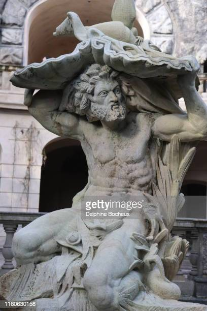 prague,  statue from the fountain in havlickovy sady - mythological character stock photos and pictures