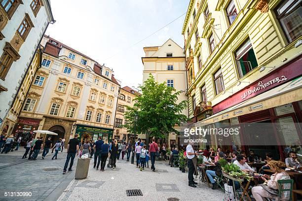 Prague street crowded with tourists