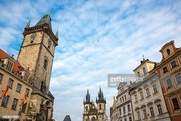 Prague the towers of the City Hall and of the Our Lady of Tyn church in the Old City square
