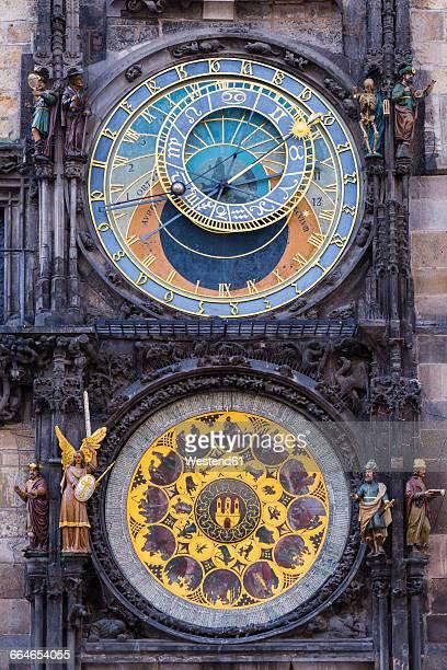 prague, town hall tower, astronomical clock - astronomical clock stock pictures, royalty-free photos & images