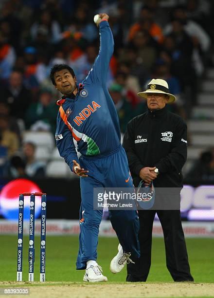 Pragyan Ojha of India bowls during the ICC World Twenty20 match between Ireland and India at Trent Bridge on June 10 2009 in Nottingham England