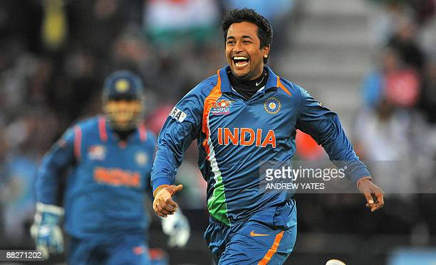 Pragyan Ojha of India celebrates after taking the wicket of Zunaed Siddique of Bangladesh during the ICC world Twenty 20 cricket match against...