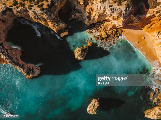 praia da mesquita - amazing drone shot of the beautiful algarve, portugal - algarve stock pictures, royalty-free photos & images