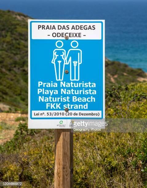 Praia das Adegas naturist beach sign Odeceixe Algarve Portugal