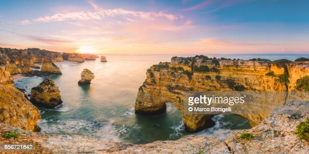 praia de marinha, portugal. - algarve stock photos and pictures