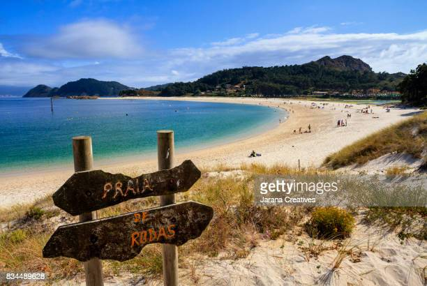 praia de rodas. cies islands - pontevedra province stock photos and pictures