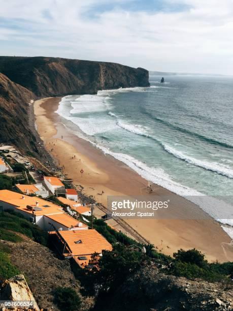 praia do arrifana aerial view, aljezur, portugal - faro stock pictures, royalty-free photos & images