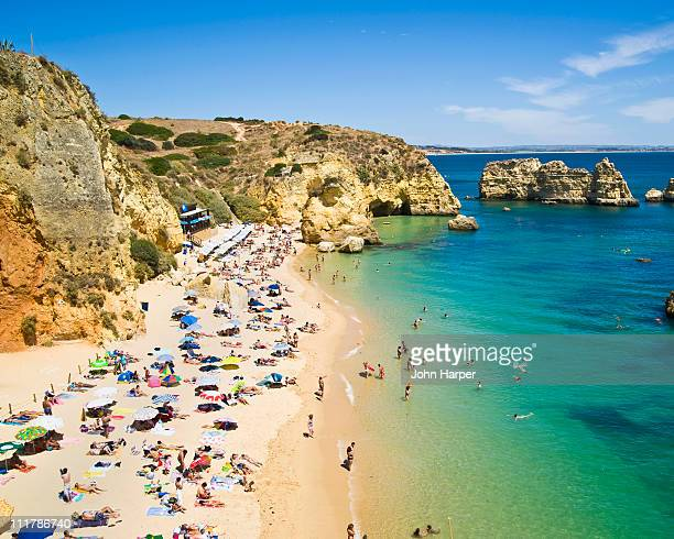 praia do camilo, lagos, algarve, portugal - algarve stock photos and pictures