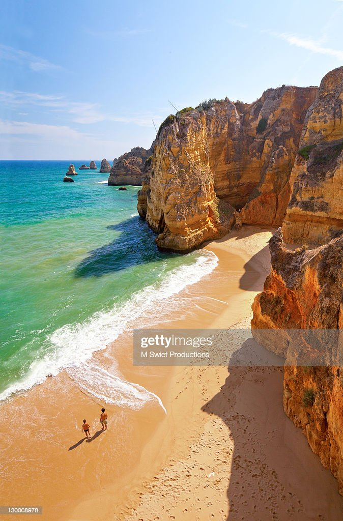 Praia Dona Ana Portugal : Stock Photo