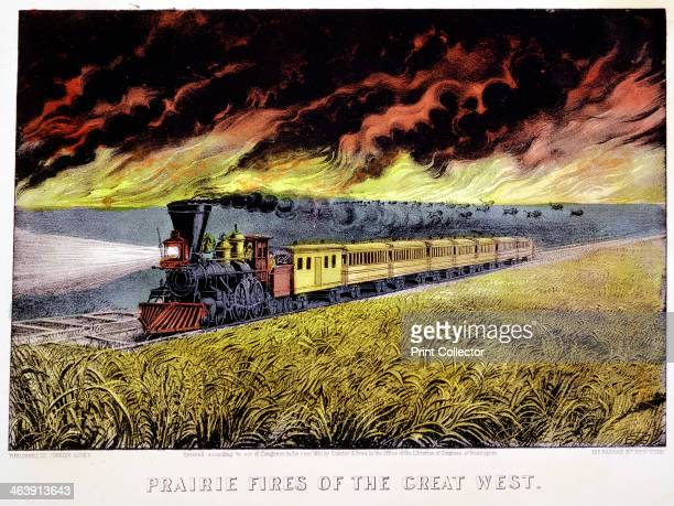 'Prairie Fires of the Great West' USA 1871 A locomotive with cowcatcher and headlamp hauls a passenger train across the prairie while buffalo...
