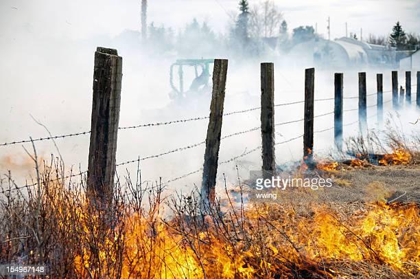 Prairie Grass Fire and Firefighter