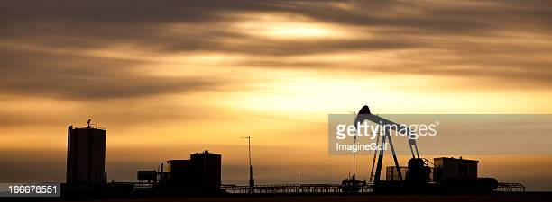 Prairie Pumpjack Silhouette in Panorama