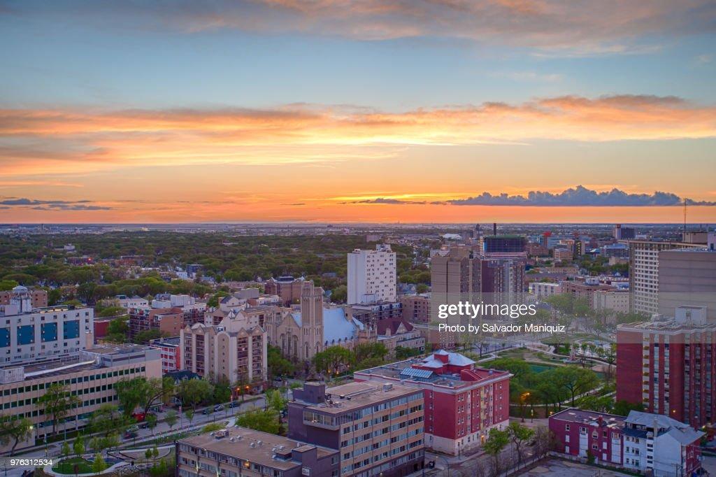Prairie Sunset at Downtown Winnipeg : Stock Photo