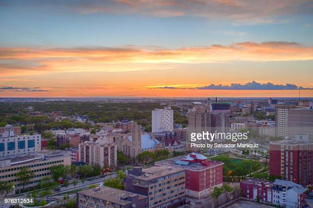 prairie sunset at downtown winnipeg - winnipeg stock pictures, royalty-free photos & images