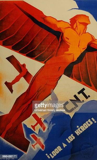 Praise the heroes Spanish Civil War CNT Republican poster by Arturo Ballester 18921981