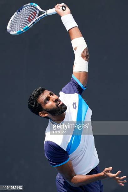 Prajnesh Gunneswaran of India in action during his Men's Singles first round match against Tatsuma Ito of Japan on day two of the 2020 Australian...