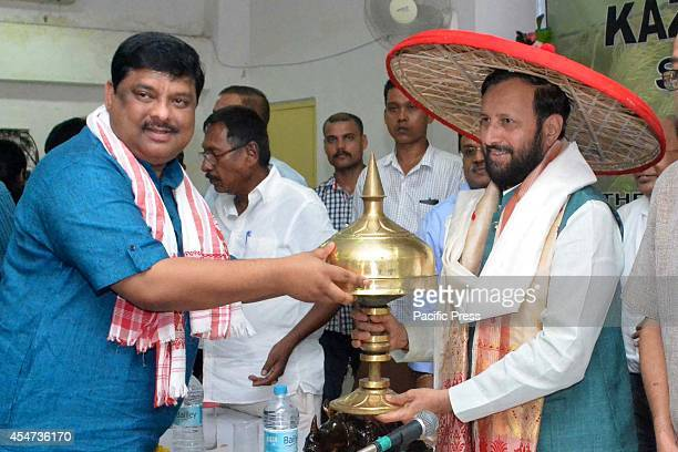 Prakash Javadekar India's new Union Minister of State for Environment and Forest and Information and Broadcasting felicitated with traditional...