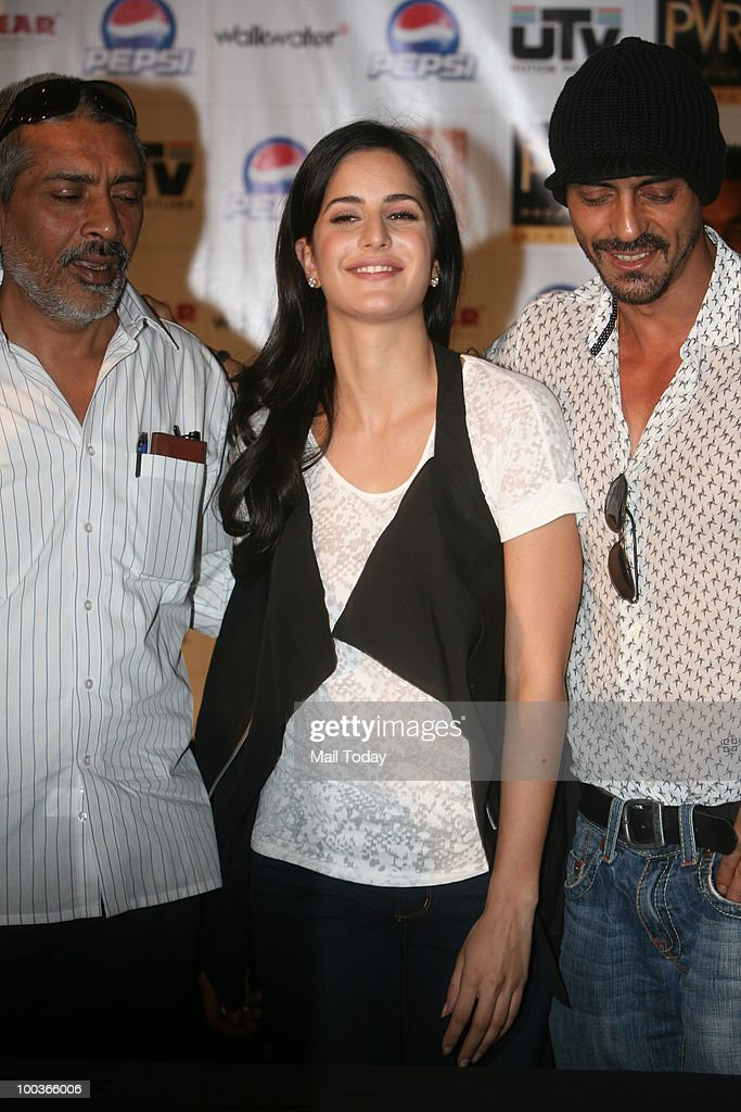 Prakash Jha, Katrina Kaif and Arjun Rampal at a promotional event for the film Rajneeti in New Delhi on May 20, 2010.