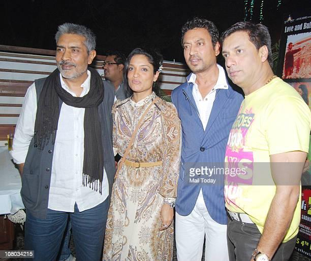 Prakash Jha , Sandhya Mridul , Irrfan Khan and Madhur Bhandarkar at the music launch of the movie Yeh Saali Zindagi at Mariamba Lounge, Mumbai on...
