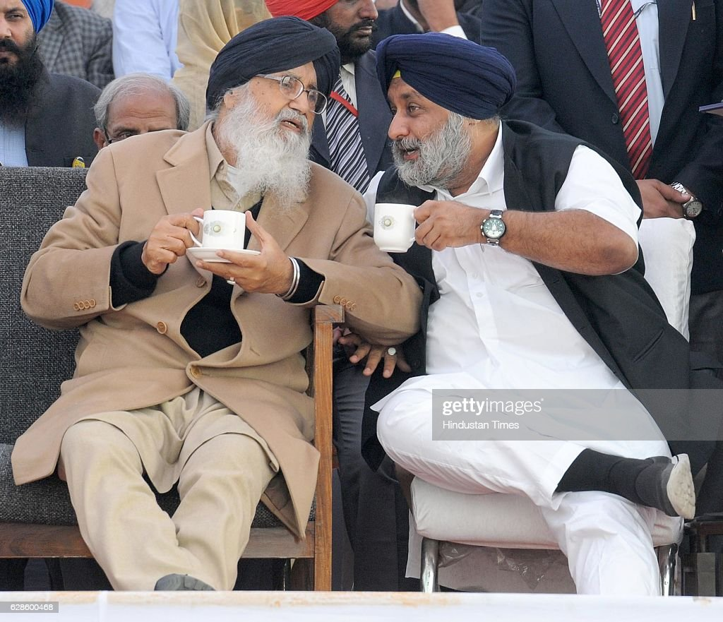 Prakash Singh Badal Chief Minister of Punjab and Sukhbir Singh Badal DY CM of Punjab during a rally 'Pani Bachao Punjab Bachao' on December 8 2016 in.