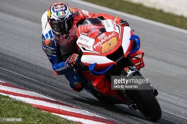 Pramac Racing's Australian rider Jack Miller steers through a corner during the second day of the pre-season MotoGP winter test at the Sepang...