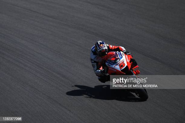 Pramac Racing's French rider Johann Zarco competes in the MotoGP race of the Portuguese Grand Prix at the Algarve International Circuit in Portimao...