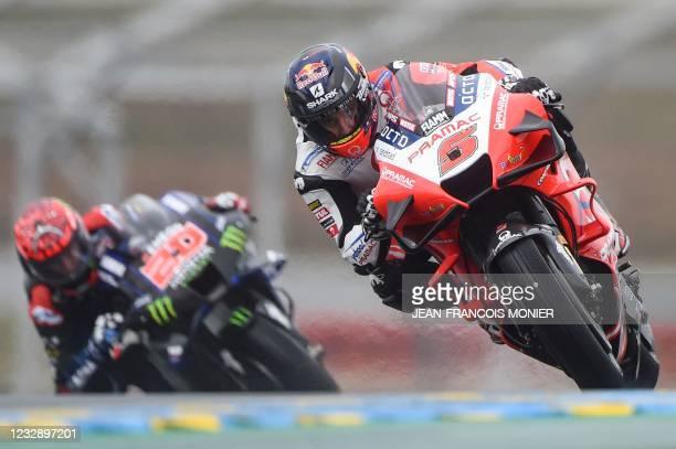 Pramac Racing's French rider Johann Zarco rides ahead Monster Energy Yamaha MotoGP's French rider Fabio Quartararo during the third free practice...