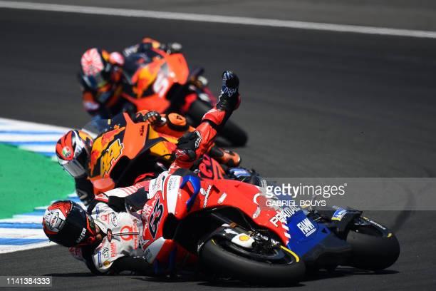 TOPSHOT Pramac Racing's Italian rider Francesco Bagnaia falls down during the MotoGP race of the Spanish Grand Prix at the Jerez Angel Nieto circuit...