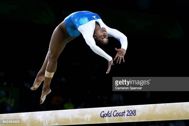 Pranati Das of India competes on the beam during the Gymnastics Artistic Women's Team Final and Individual Qualification on day two of the Gold Coast...