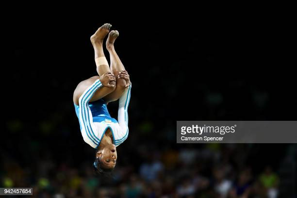 Pranati Das of India competes on the floor during the Gymnastics Artistic Women's Team Final and Individual Qualification on day two of the Gold...