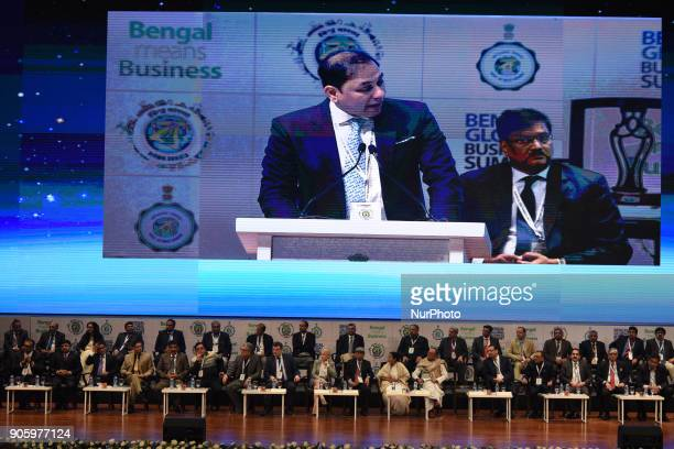 Pranav AdaniDirector of Adani Enterprises speak at The 2nd day of Bengal Global Business Summit on January 172018 in KolkataIndia