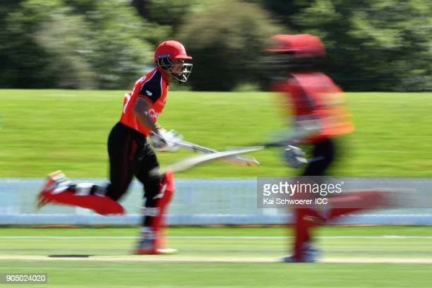 Pranav Sharma of Canada makes a run during the ICC U19 Cricket World Cup match between Bangladesh and Canada at Bert Sutcliffe Oval on January 15...