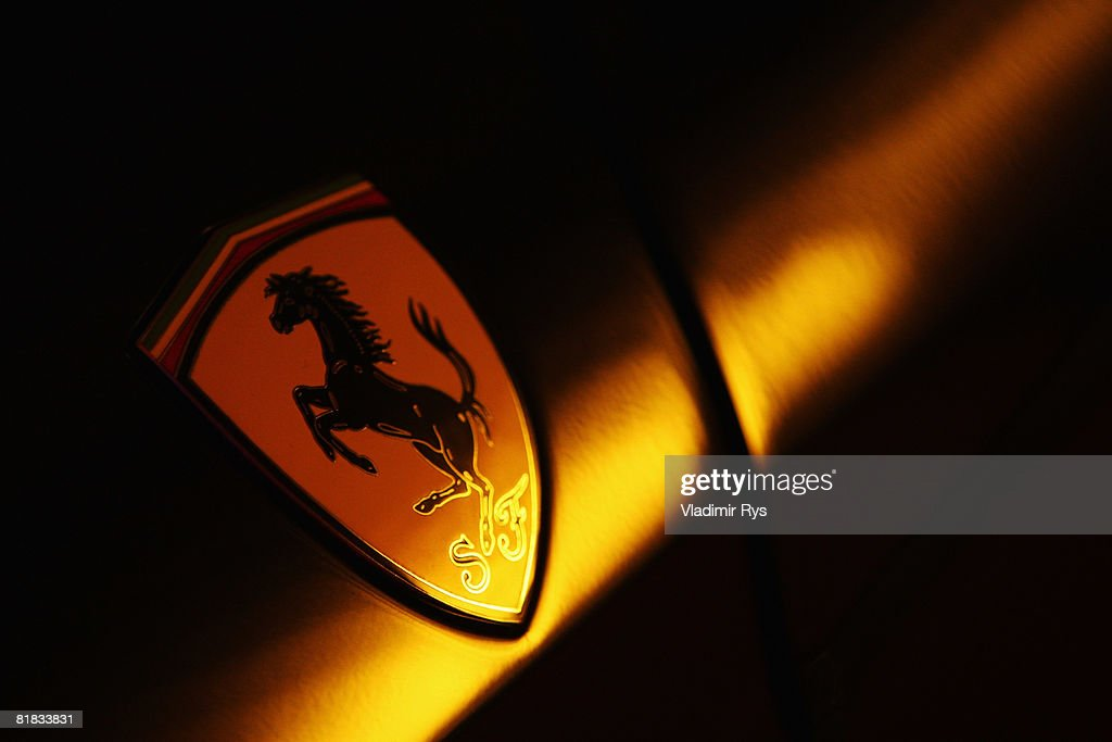Prancing horse logo is seen on a Ferrari road car during qualifying for the British Formula One Grand Prix at Silverstone on July 5, 2008 in Northampton, England.